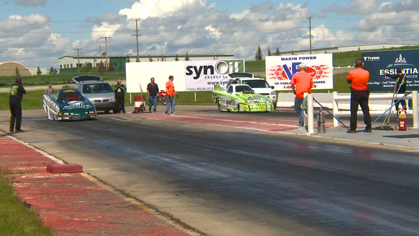 Motor sports, Drag Race, Funny cars burnouts - HD stock footage clip