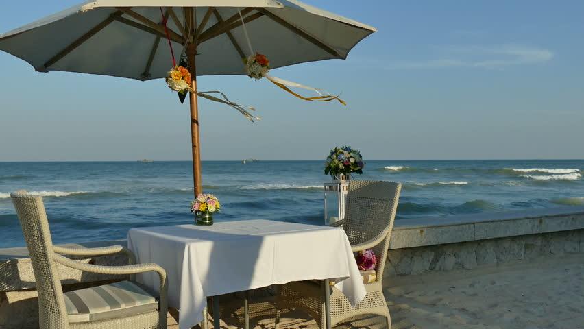 Dinner on the beach - HD stock footage clip