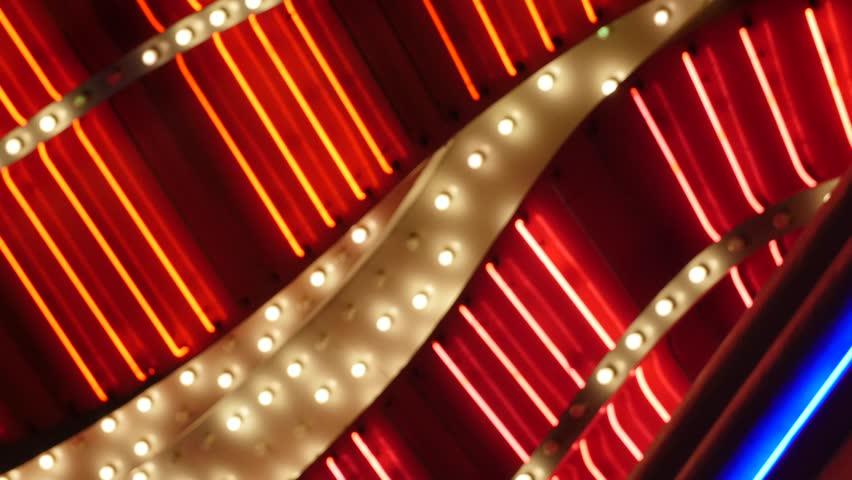 Very bright lights flash outside of a las vegas casino | Shutterstock HD Video #16098100