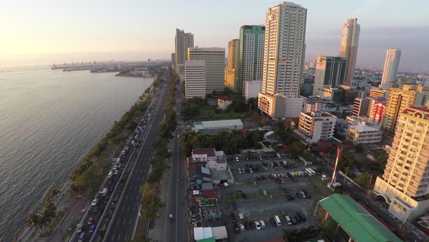 Flying over Roxas Boulevard in Manila