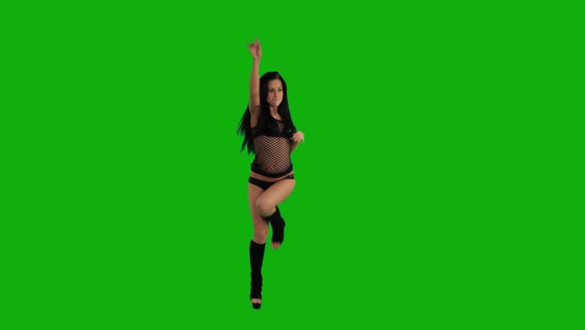 girl dancing on the green screen  - HD stock video clip