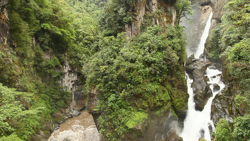 Pailon Del Diablo - Devil's Cauldron, spectacular waterfall in Ecuadorian rainforest. - HD stock video clip