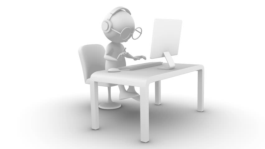 3d white character with glasses reading and typing on computer. Isolated on white, seamless, included alpha channel