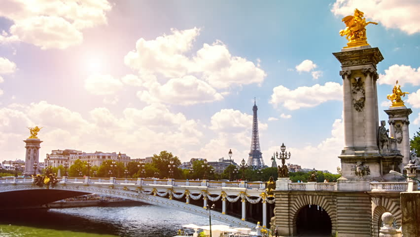 View of Eiffel Tower and Alexander III Bridge. Paris, France. Timelapse, Full HD, 1080p - HD stock video clip