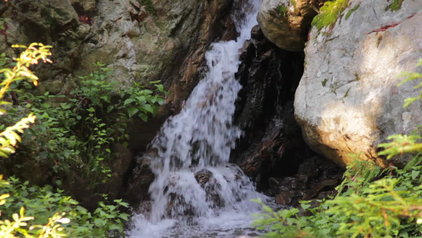 Small waterfall in the forest in Big Sur California - HD stock footage clip