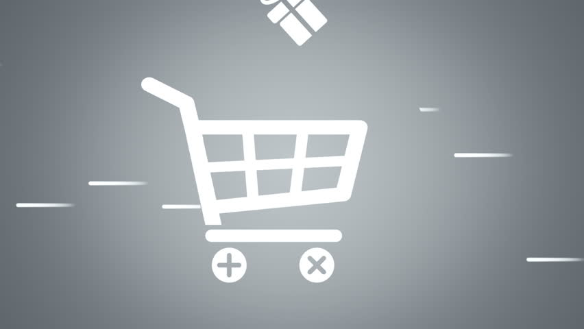 Animation of fast moving basket shop with falling into basket gift boxes and shop bags in drawing style. Animation in stop motion style. Animation of seamless loop. - HD stock footage clip