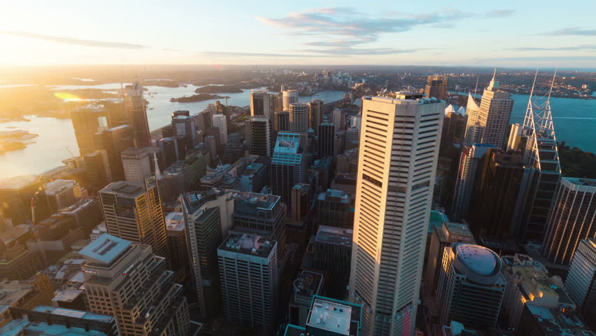 Time-lapse photography Aerial view of the Sydney city skyline   Shutterstock HD Video #16238383