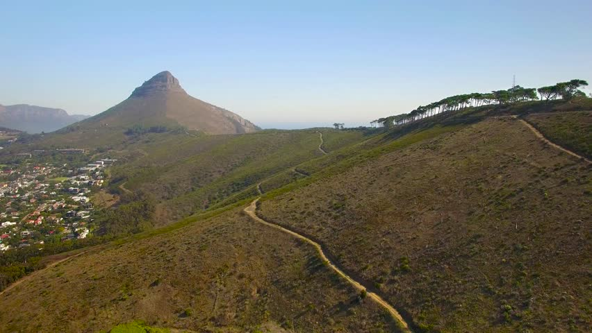 Cape Town 4K UHD aerial footage of Lions Head Peak and city from Signal Hill drive. Part 1 of 3 | Shutterstock HD Video #16257778