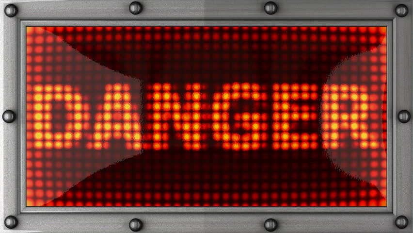 danger  announcement on the LED display - HD stock video clip