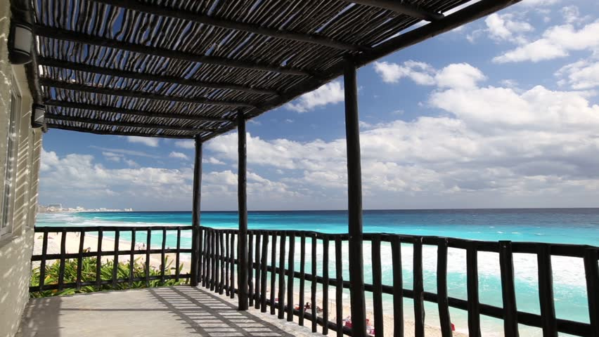 Tropical wooden terrace near caribbean sea shore - HD stock footage clip