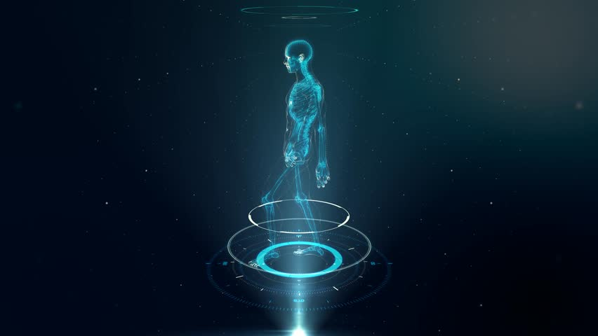 Human Avatar WALKING on Virtual 3D Holographic Projection with Futuristic Blue HUD. Male x-ray skeleton scan - LOOP | Shutterstock HD Video #16420183