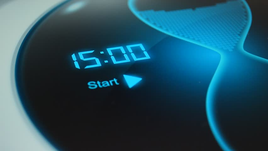 The timer for 15 minutes. Digital timer, countdown 60 seconds. Blue electronic timer with hourglass. Click on the button to start an electronic timer for timing. | Shutterstock HD Video #16442998