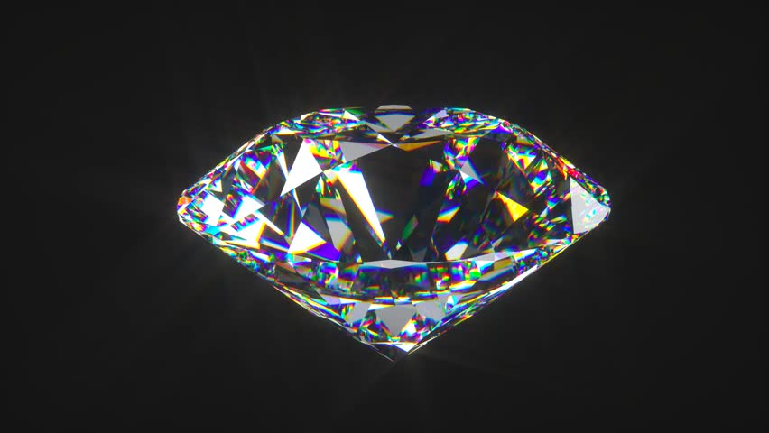 Physically correct round cut diamond spinning as a seamless loop on a black background | Shutterstock HD Video #16495180
