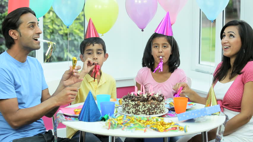 Little Asian Boy Enjoying Birthday Celebrations - HD stock video clip