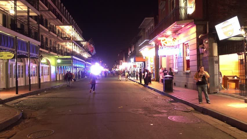 New Orleans Police in French Quarter at night - NEW ORLEANS, LOUISIANA - APRIL 17, 2016 - 4K stock video clip