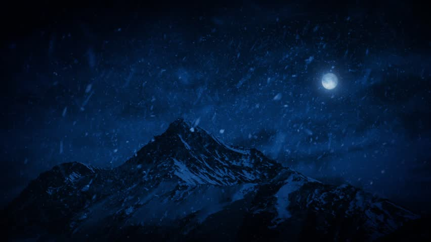 Snow Falling On Mountains At Night - HD stock video clip