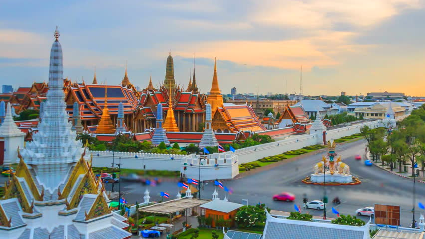 Time lapse landmark of Bangkok Wat Phra Kaeo or Temple of the Emerald Buddha in Bangkok City, Thailand  | Shutterstock HD Video #16625833