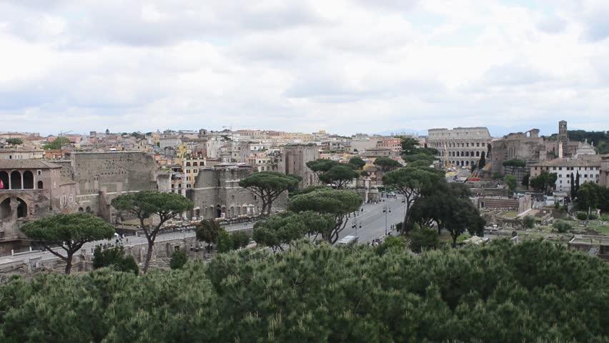 ROME, ITALY - APRILE 27, 2016: Rome Antique Site - Panorama - Forum Ancient, Coliseum, Columns Temple Of Apollo - HD stock video clip