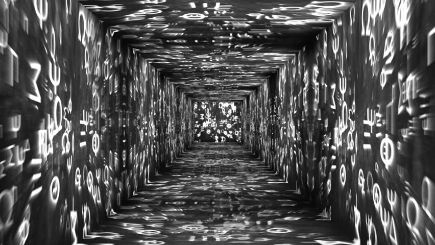 Tunnel design on Greek characters concept animation - HD stock footage clip