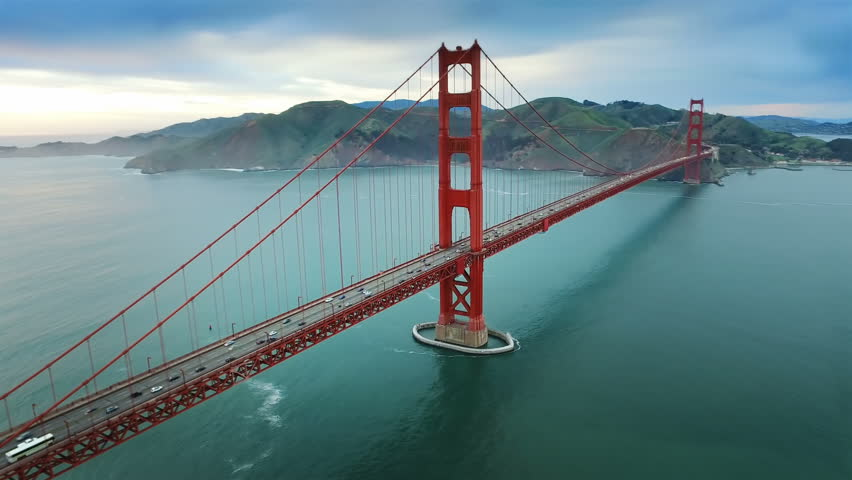 Aerial view of the Golden Gate Bridge in San Francisco. USA. Daylight. Shot from helicopter.  #16753381