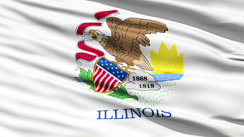 Waving Flag Of The US State of Illinois with the state seal depicting an eagle