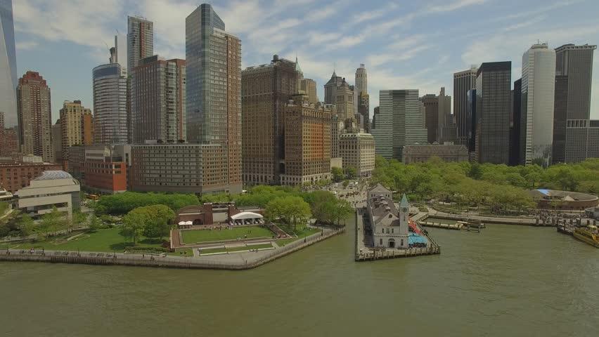 New York city aerial filming. Flying around Lower Manhattan. | Shutterstock HD Video #16851814