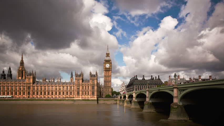 Big Ben, Houses of Parliament, and London Bridge time lapse
