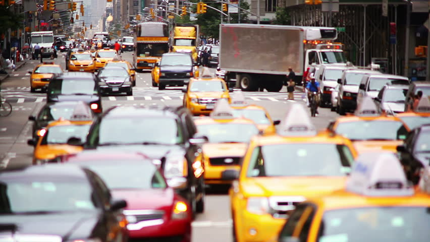 New York City traffic and people