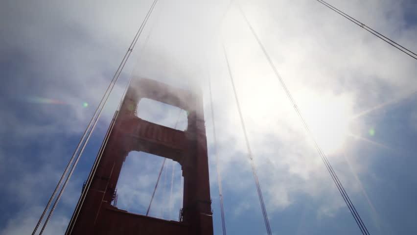 Mist rolling past the Golden Gate Bridge - HD stock footage clip