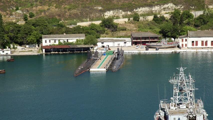 The Russian submarines in the Crimea - HD stock video clip