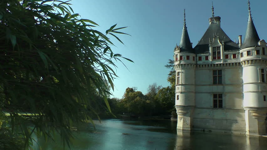 Azay-le-Rideau castle, Loire Valley, France. This castle was built in the XVIth century on an island among the Indre river - HD stock footage clip