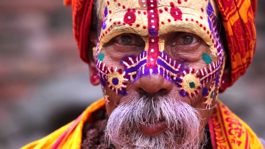 Portrait of sadhu, or holy man in the Pashupatinath temple complex in Kathmandu, Nepal.  | Shutterstock HD Video #16979839