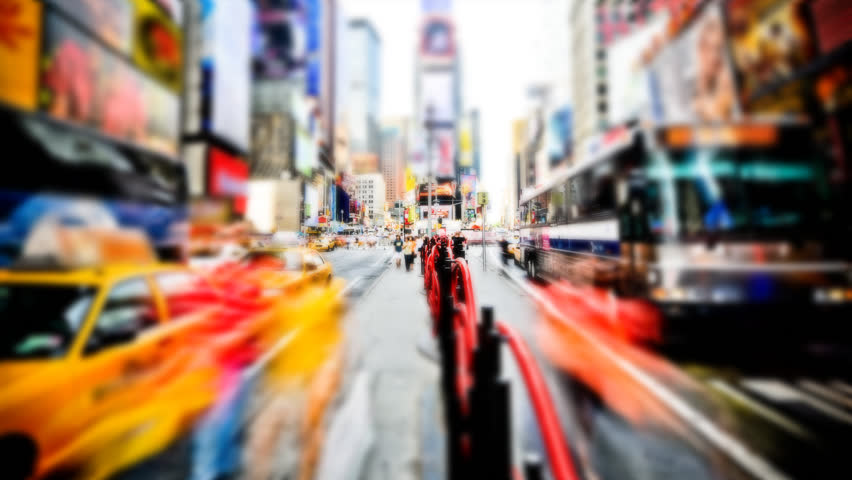 Soft focus timelapse of Times Square, New York City