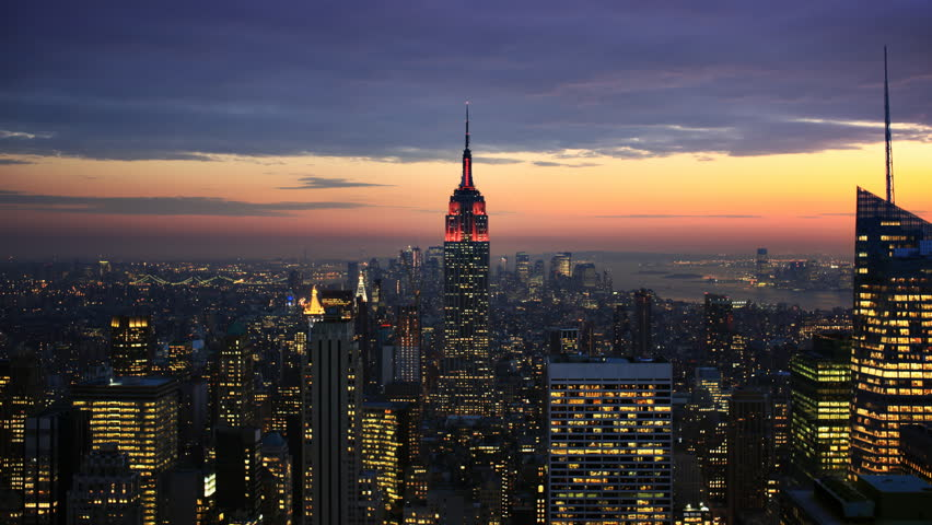 Timelapse of dusk to night falling over New York City and the Empire State Building