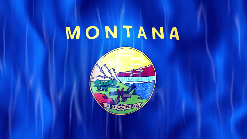 Montana State Flag Animation Ultra HD, 3840x2160 Pixels, Realistic Flag Animation,  High Quality Quicktime animation Movie works with all Editing Programs,  20 Seconds Duration  - 4K stock footage clip