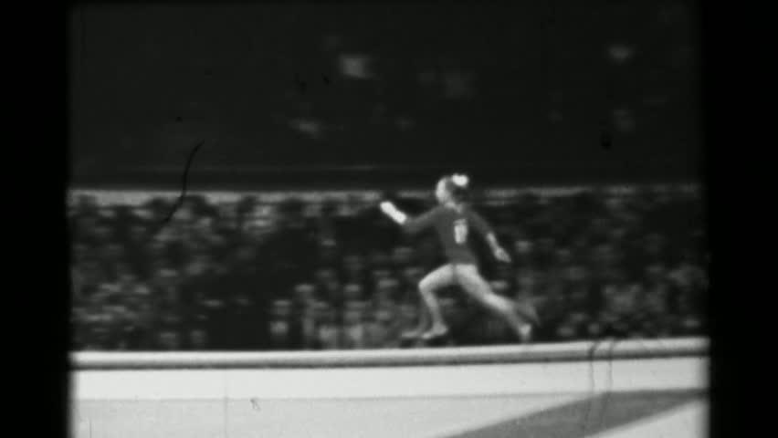 DORTMUND, GERMANY 1966: Larisa Petrik Soviet Union women's vault 16th Artistic Gymnastics World Championships. - 4K stock footage clip