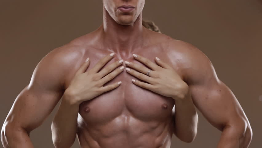 A Girl Touch Muscle Man Pecs