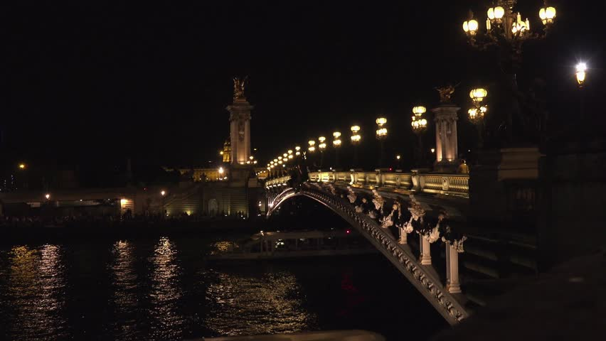 PARIS - MAY 2016: Stunning night view of the Pont Alexandre III , ULTRA HD 4k, real time, zoom - 4K stock video clip