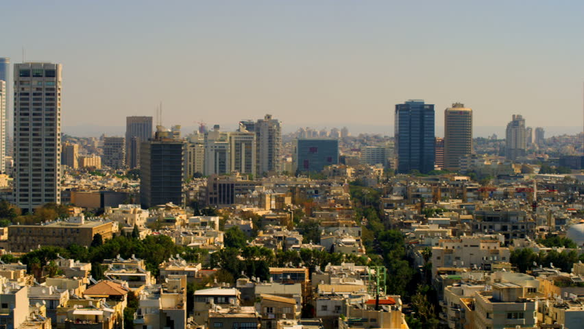 A slow pan right to left of the Tel Aviv, Israel  skyline at 9:05am in the morning.   | Shutterstock HD Video #1706425