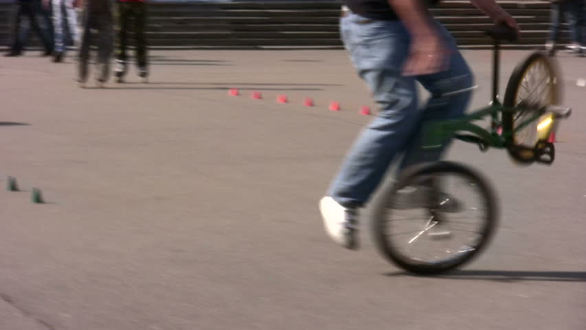 bicycle trick - HD stock footage clip