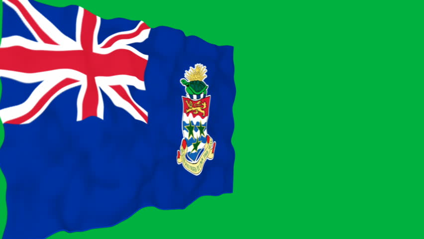 Isolated waving flag of Cayman Islands on green background