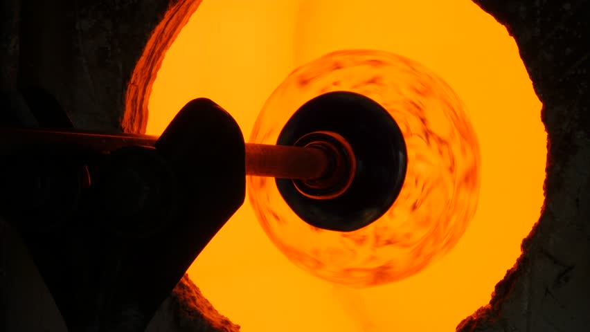 Glassworks glass manufacturing process - glass in the furnace closeup   Shutterstock HD Video #17140669