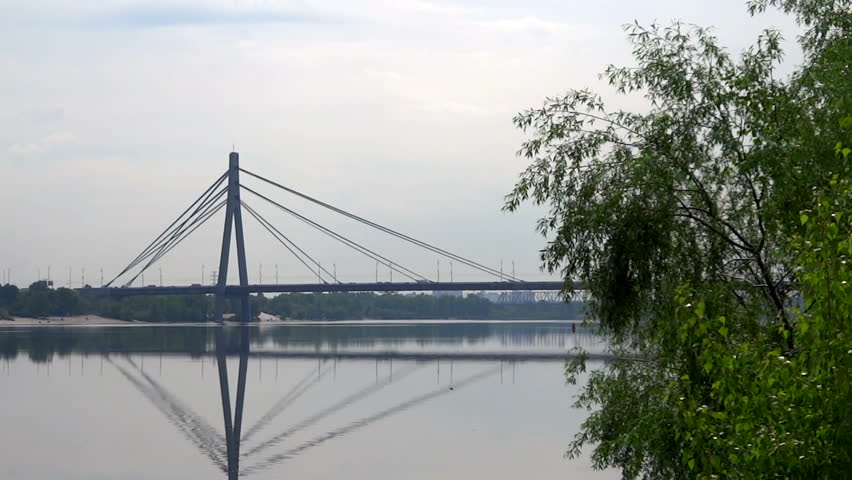 Moskovskyi Bridge view in Kyiv - HD stock footage clip