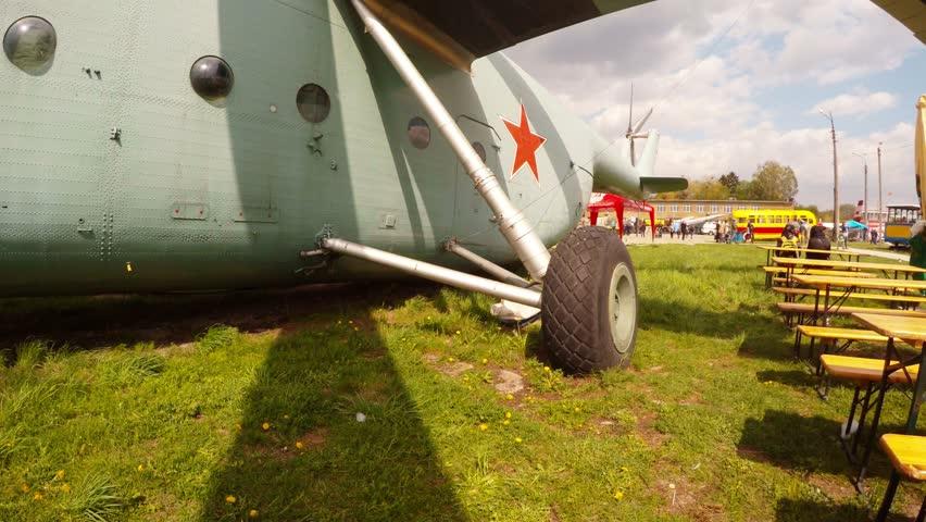 Festival Oldcarland 2016 in State Aviation Museum in Kiev, Ukraine - 4K stock video clip