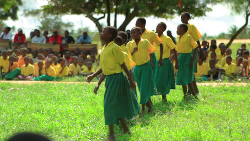 MOMBASSA, KENYA, AFRICA - CIRCA 2011: School performance near a village in Kenya