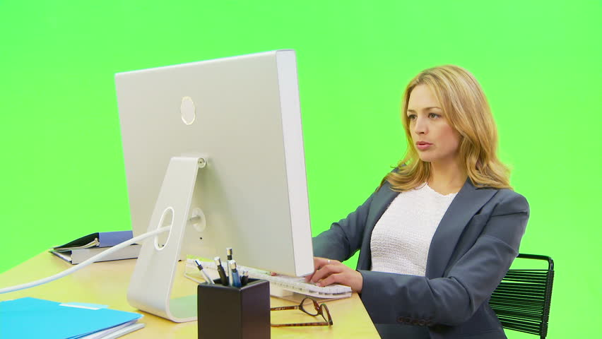 ... Bmcc Computer Help Desk Businesswoman Working On Laptop On A Green  Screen Chroma Key Professional On ...
