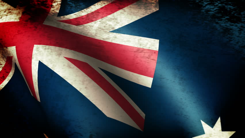 Australia Flag Waving, grunge look - HD stock video clip