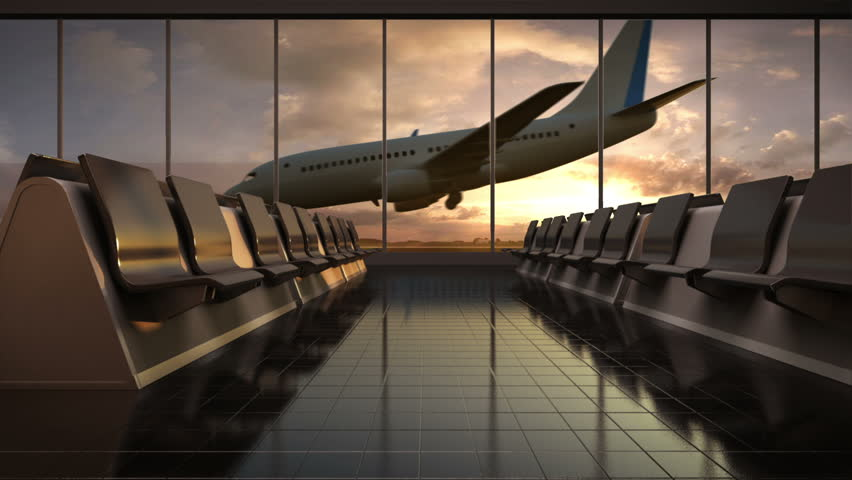 Arrival airplane in flight waiting hall. lounge.sunset. moving camera. | Shutterstock HD Video #17343763