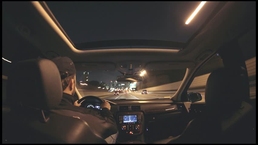 Alternate timelapse from interior of car driving on city highway HD - HD stock footage clip
