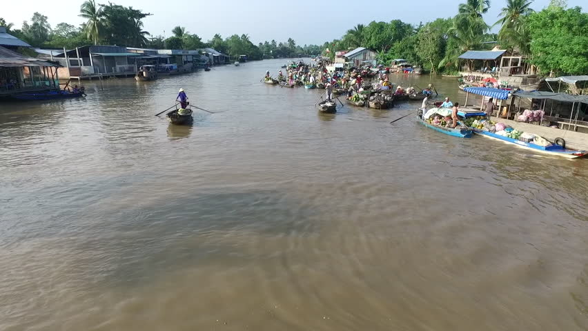 Aerial video from above, over a traditional floating market, in south of Vietnam - HD stock video clip